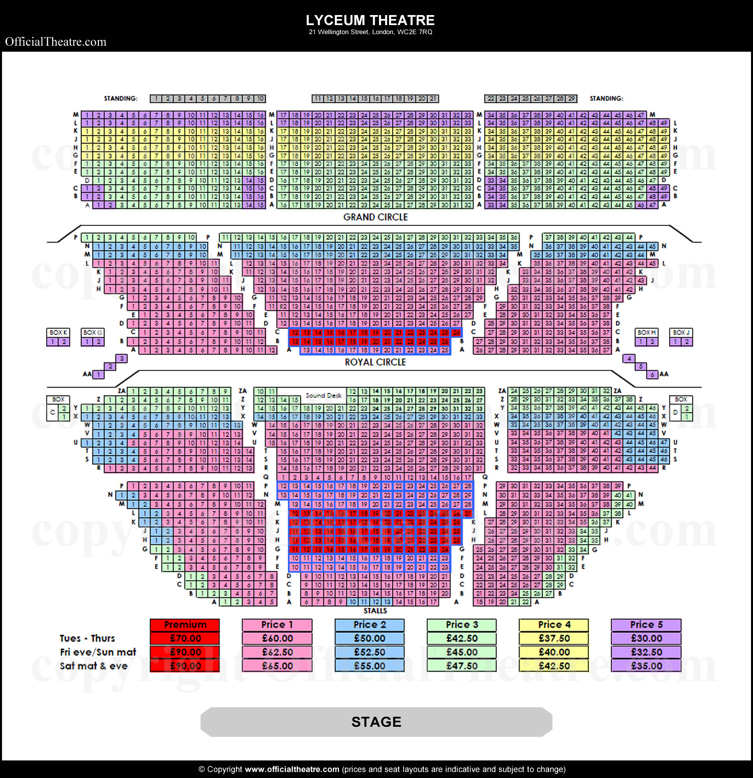 Lyceum Theatre seat prices