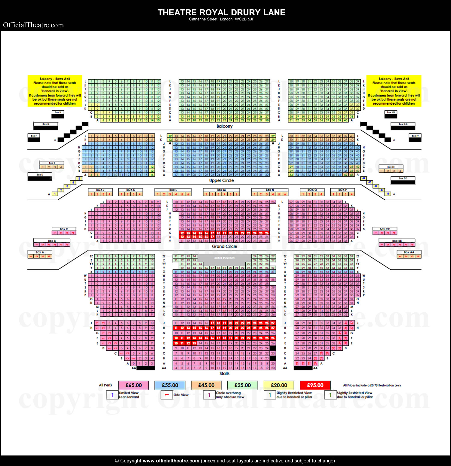 Theatre Royal Drury Lane seat prices