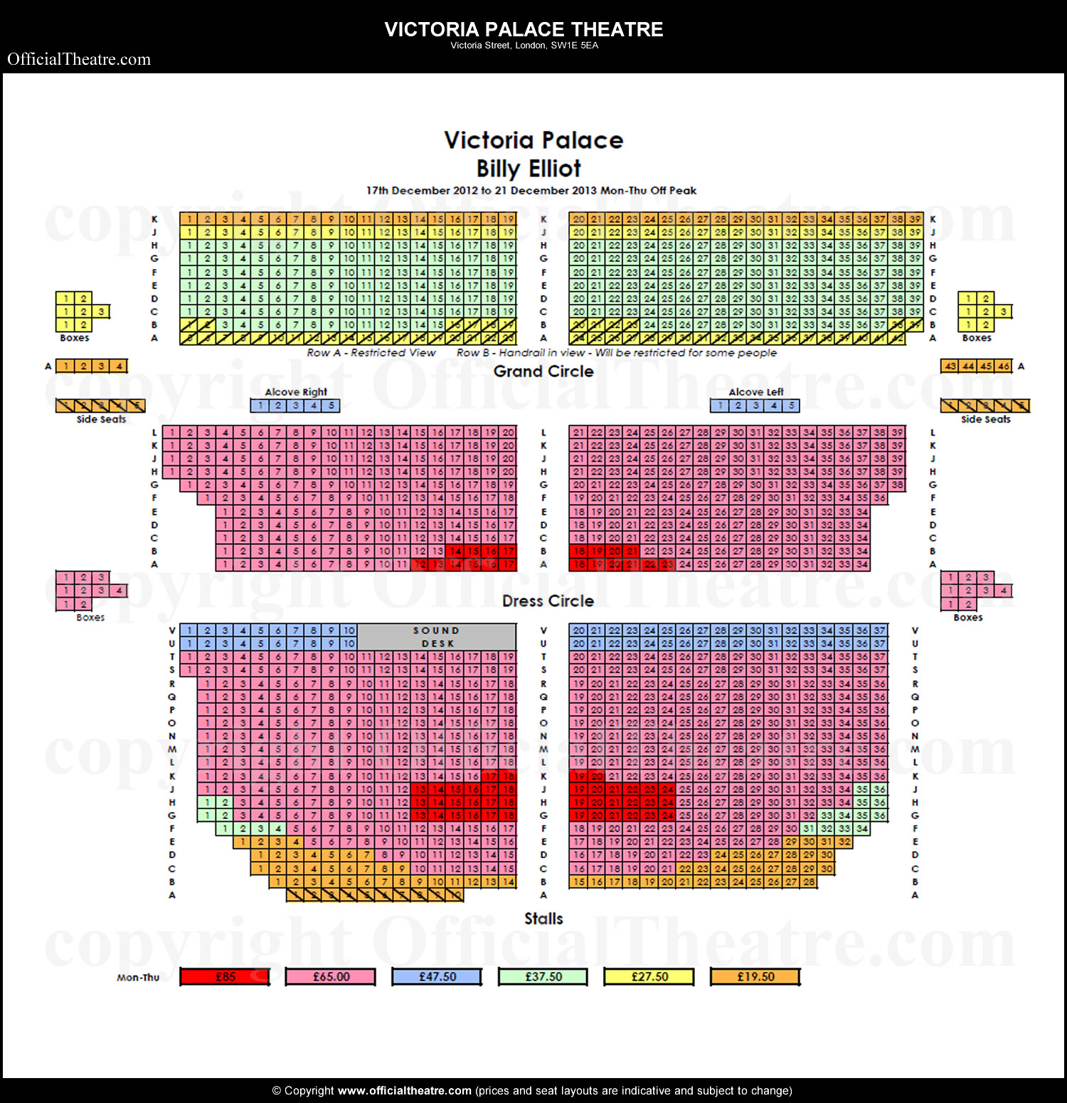 Victoria Palace Theatre seat prices