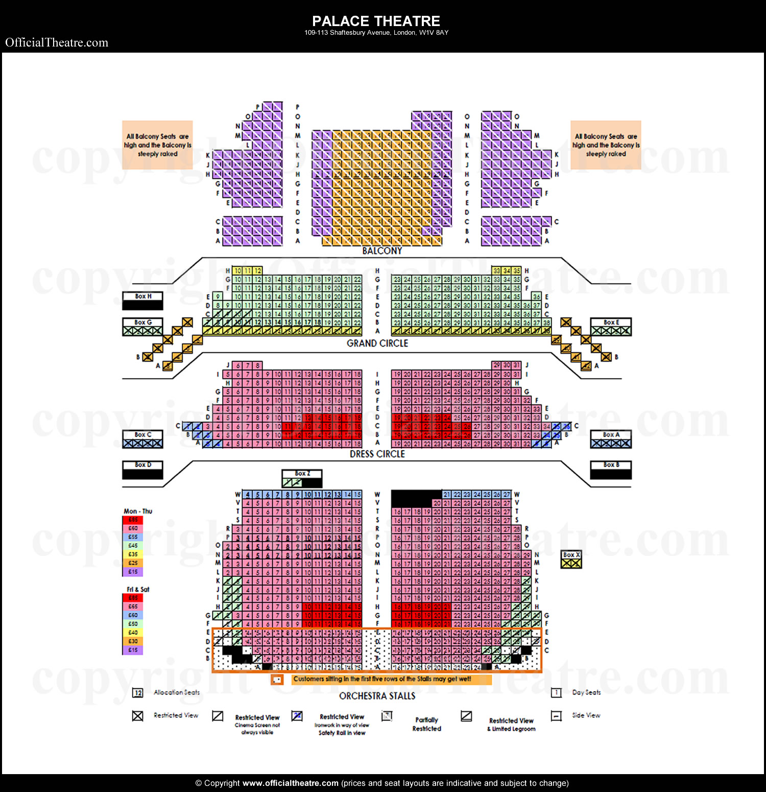 Palace theatre london seat map and prices for harry potter and the
