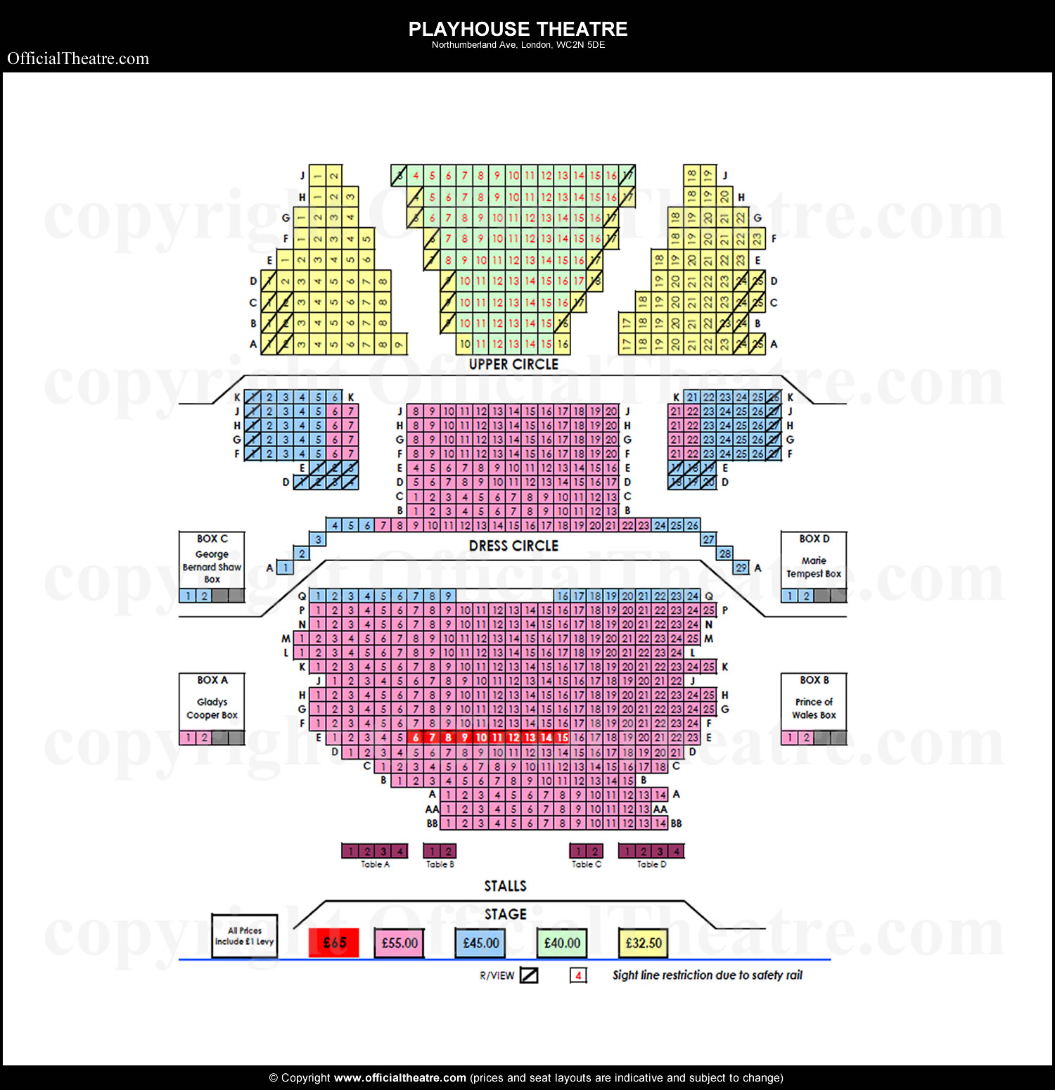 Playhouse Theatre Seating Price
