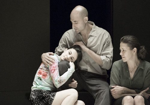 Phoebe Fox (Catherine) Mark Strong (Eddie) and Nicola Walker (Beatrice) in A View from the Bridge