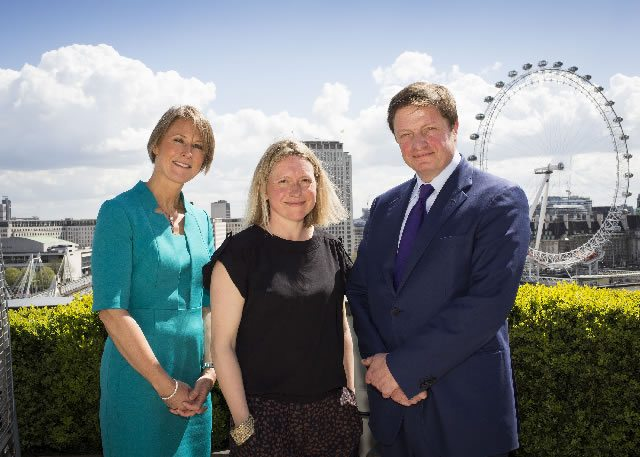 L-R Fiona Thomas Emily Hall and Alex Beard on the roof of Corinthia Hotel London Credit Helen Maybanks SML2