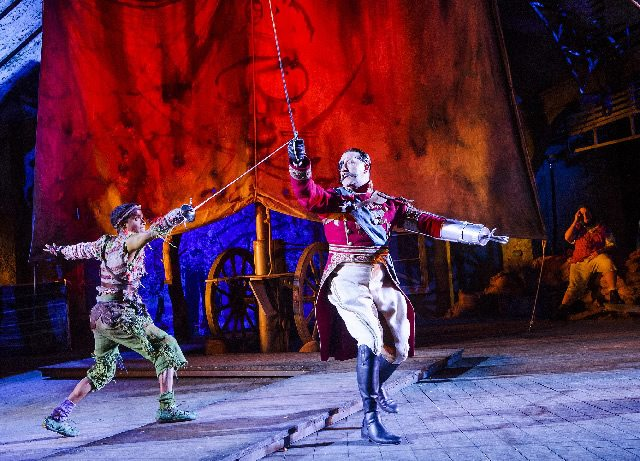 Hiran Abeysekera and David Birrell as Peter Pan and Hook. Photo Tristram Kenton