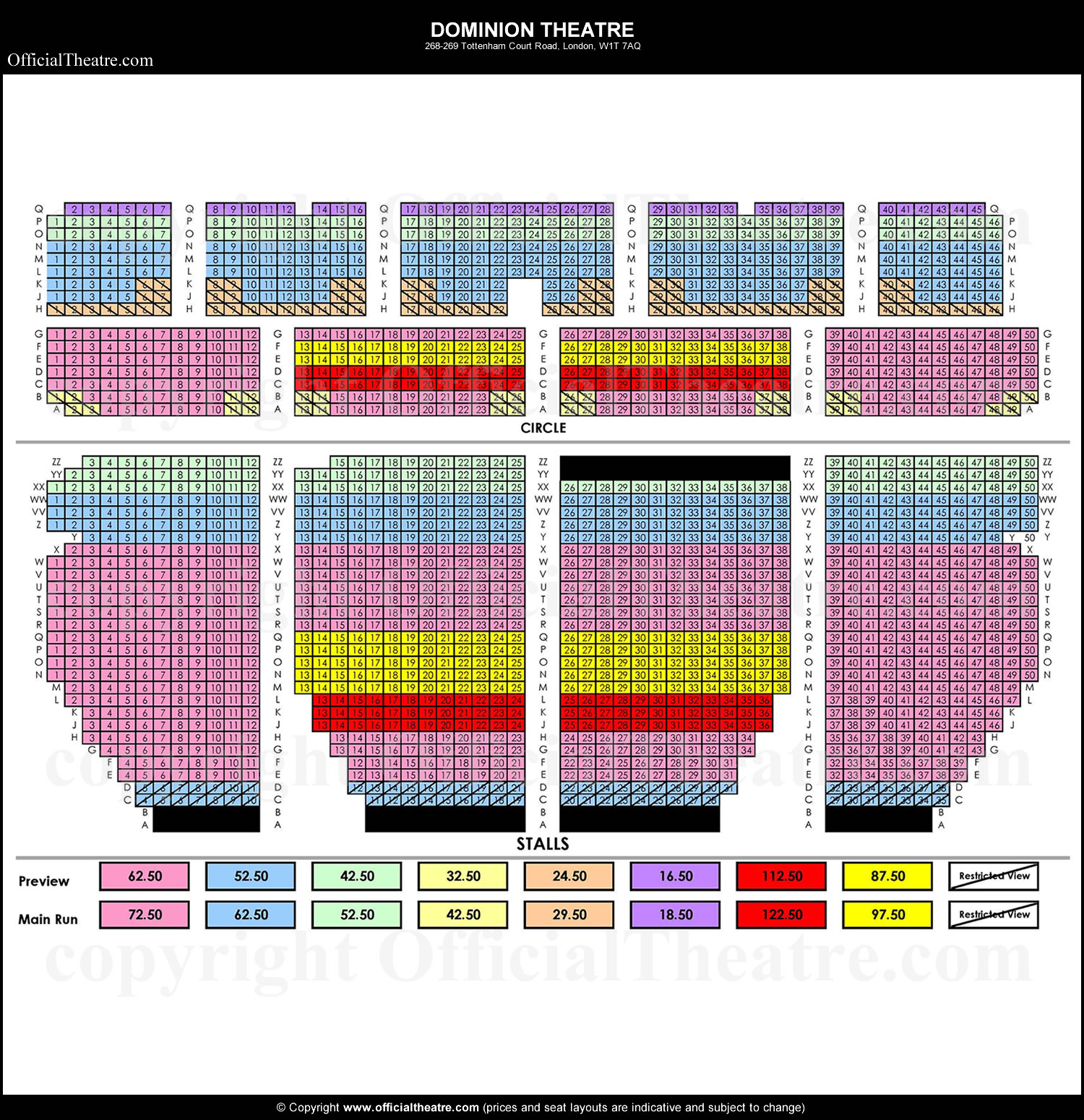 Dominion Theatre London Seat Map And Prices For Bat Out Of