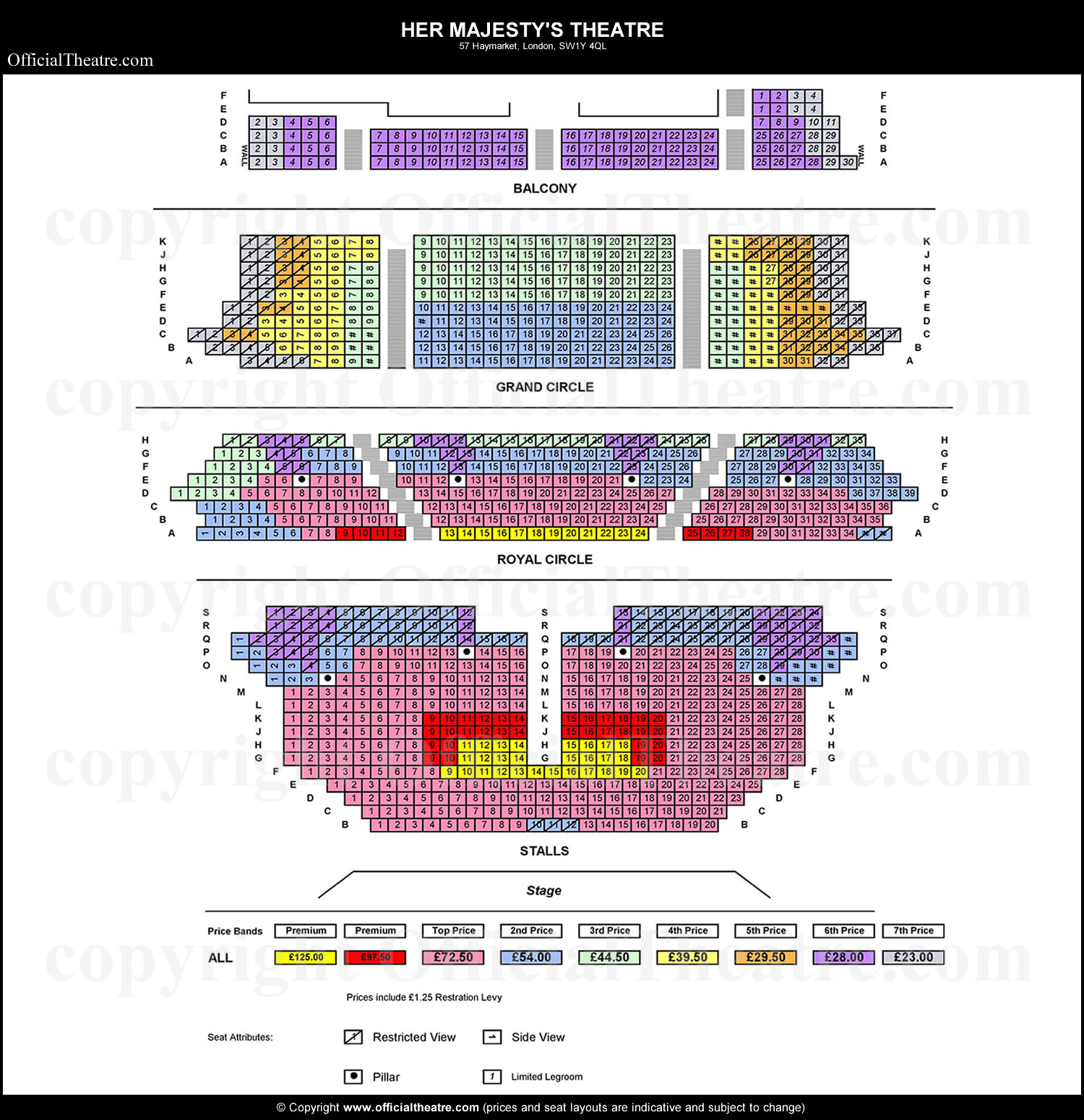 Her Majesty S Theatre London Seat Map And Prices For The Phantom Of The Opera
