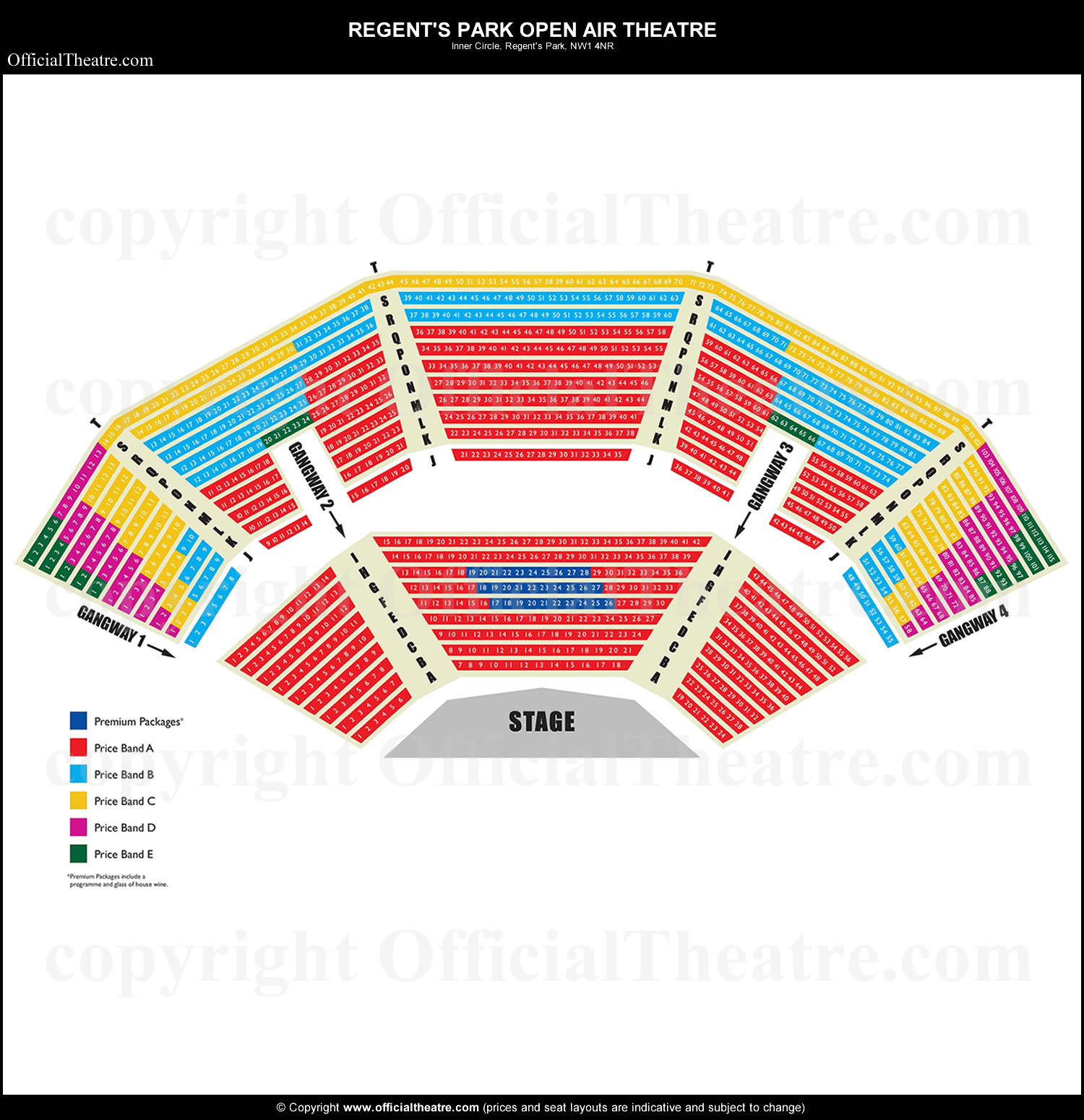 Regents Park Open Air Theatre London seat map and prices for Peter Pan