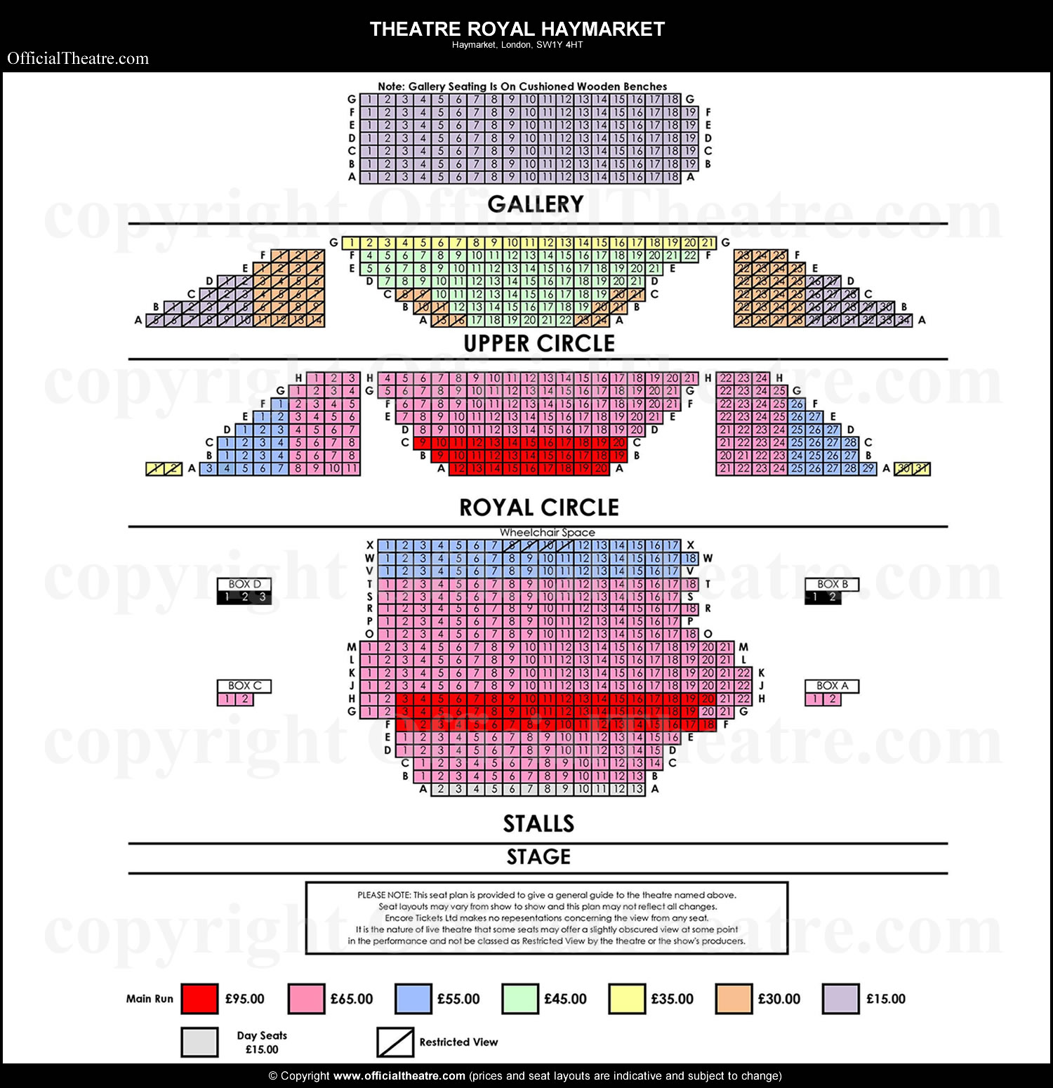 Theatre royal haymarket london seat map and prices for frozen for Balcony novello theatre