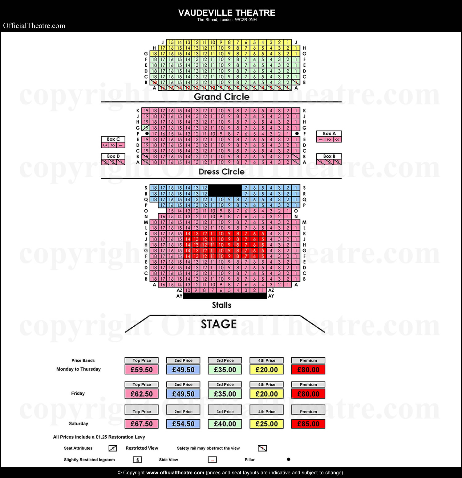 Vaudeville Theatre London Seat Map And Prices For James