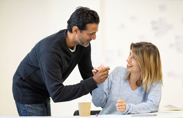 Navin Chowdhery and Claire Goose rehearsing The Girl Who Fell