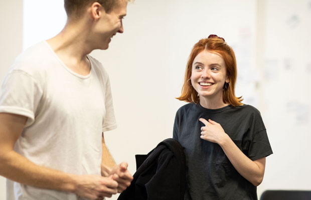 Will Fletcher and Rosie Day rehearsing The Girl Who Fell