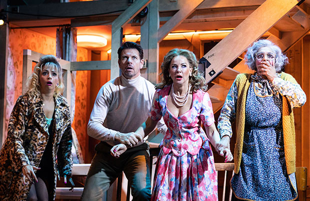 Meera Syal, Sarah Hadland, Daniel Rigby and other cast members in Noises Off at the Garrick Theatre