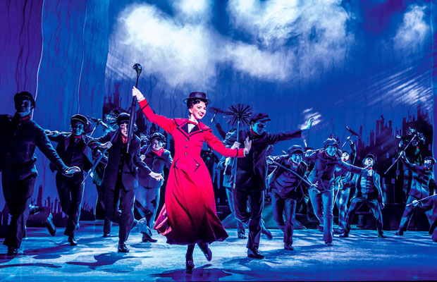 Zizi Strallen and Charlie Stemp dancing on stage in Mary Poppins at the Prince Edward Theatre