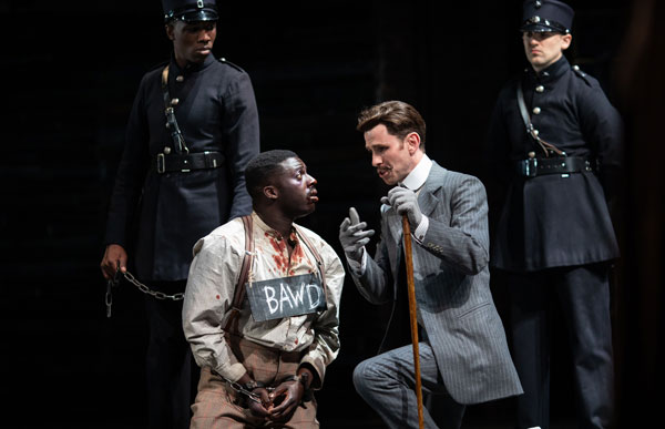 Joseph Arkley and David Ajao performing in Measure for Measure at the Barbican Theatre