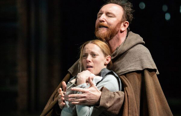 Lucy Phelps and Antony Byrne performing in Measure for Measure at the Barbican Theatre
