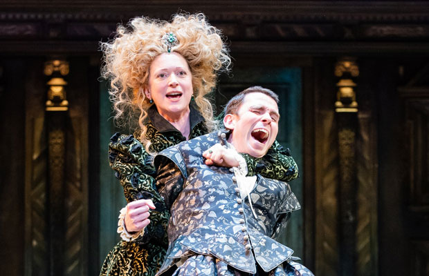Claire Price as Petruchia and Joseph Arkley as Katherine in The Taming of the Shrew at the Barbican