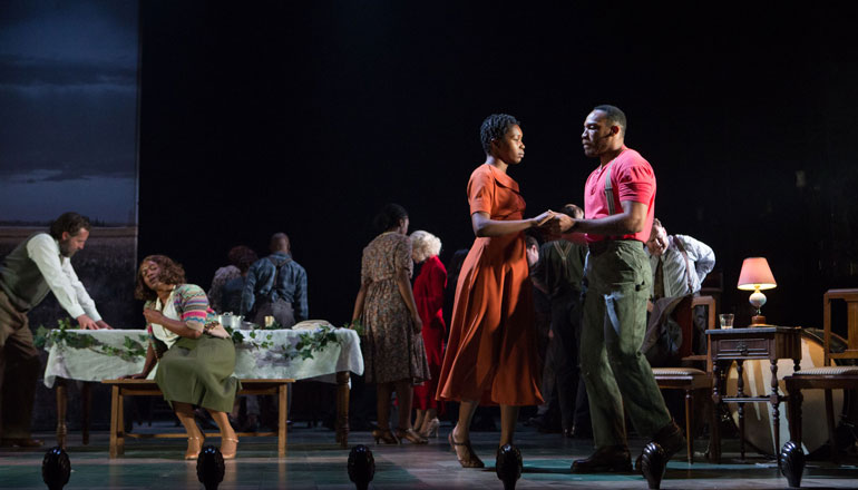 Shaq Taylor and Gloria Obianyo in Girl From the North Country at the Gielgud Theatre, London