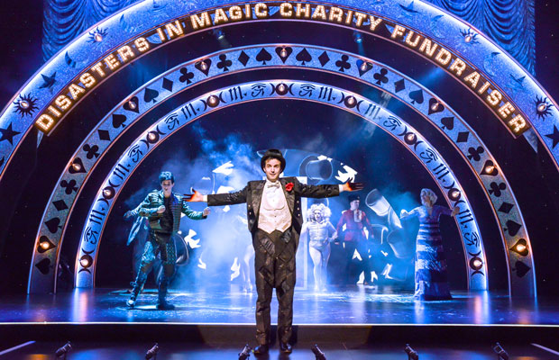 Henry Shields on stage during Magic Goes Wrong at the Vaudeville Theatre