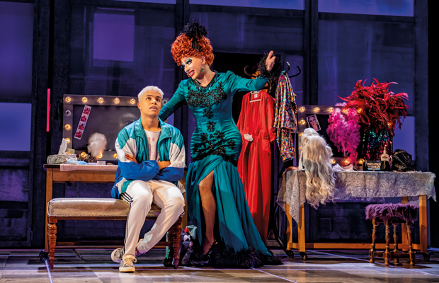Noah Thomas and Bianca Del Rio in Everybody's Talking About Jamie at the Apollo Theatre
