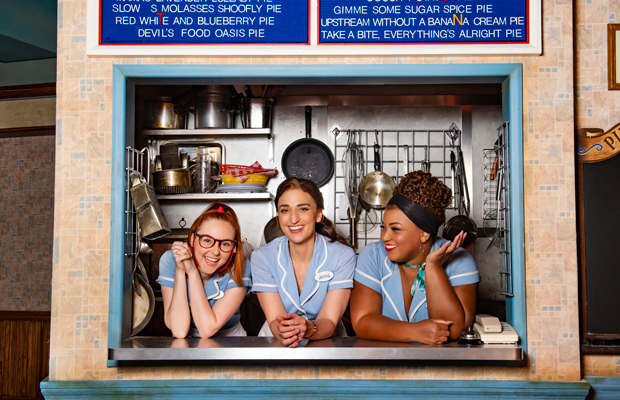 Evelyn Hoskins, Sara Bareilles and Marisha Wallace star in Waitress at the Adelphi Theatre