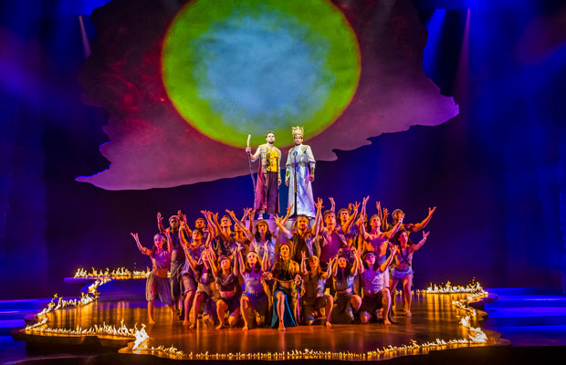 Luke Brady and Liam Tamne with the chorus of The Prince of Egypt at the Dominion Theatre