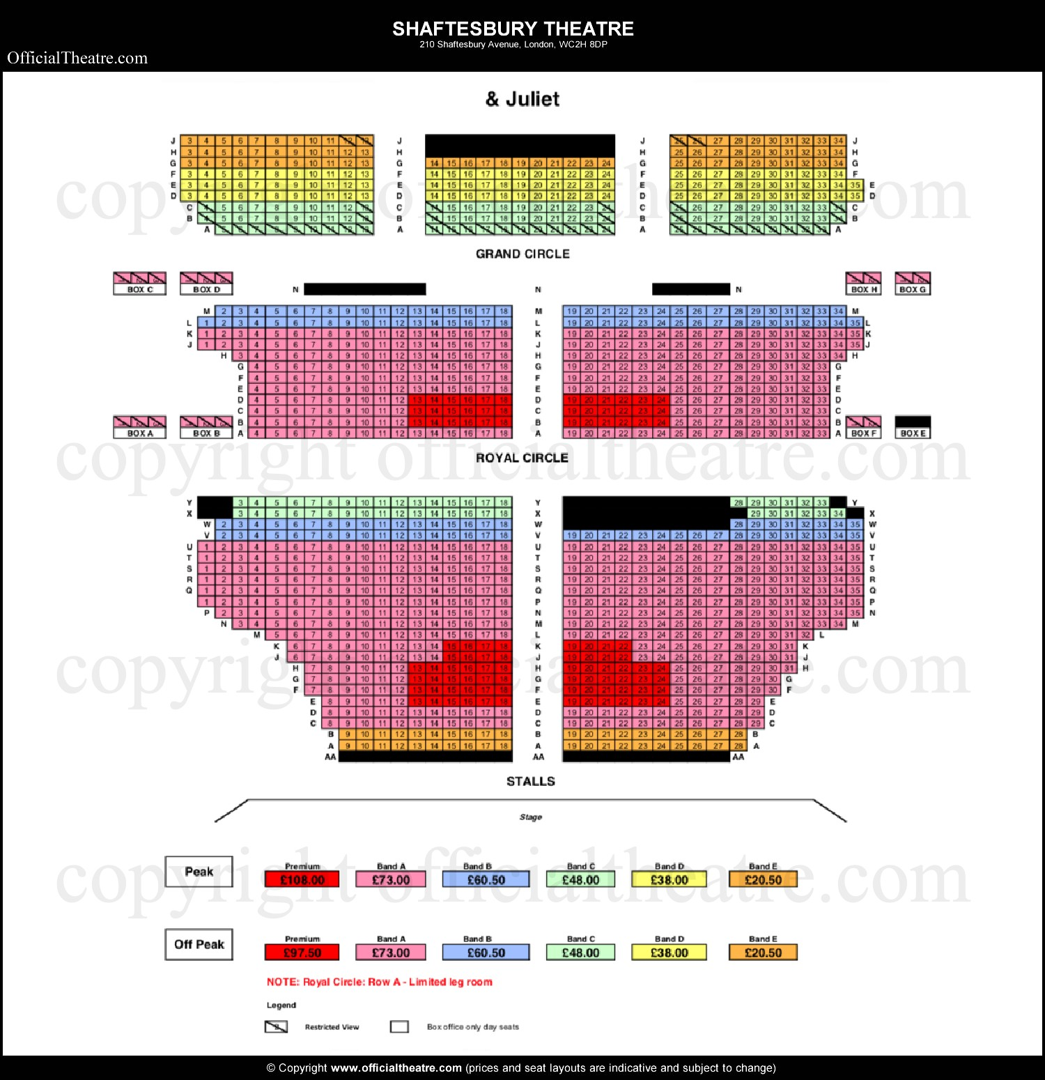 Shaftesbury Theatre seating plan