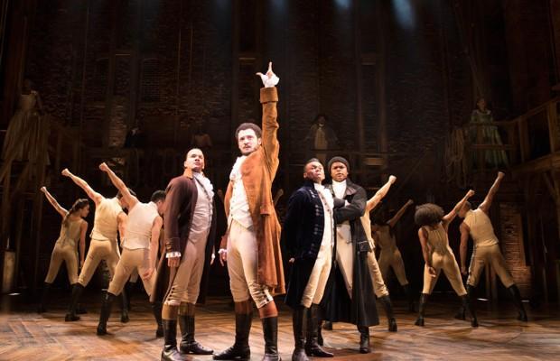 Alexander Hamilton (front-centre) in the musical Hamilton at the Victoria Palace Theatre